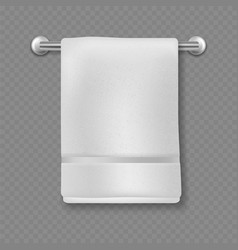 White towel realistic bathroom cotton textile vector