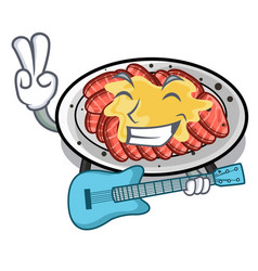 With guitar carpaccio isolated with in mascot vector