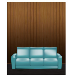 wooden wall and blue sofa in front - vector image