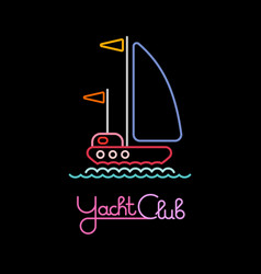 yacht club neon sign vector image vector image