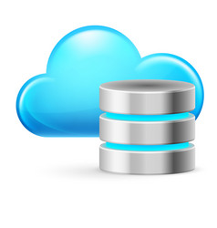 cloud computing and database on white background vector image vector image