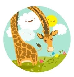 Cute giraffe smelling a flower vector image