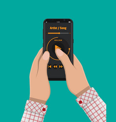 hand holds smartphone with music player vector image vector image