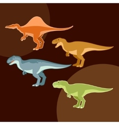 Set of carnivores dinosaurs vector image