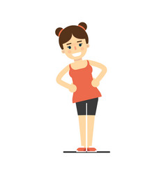 Sporty smiling girl in sportswear doing fitness vector