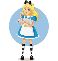 alice in wonderland with her white rabbit vector image