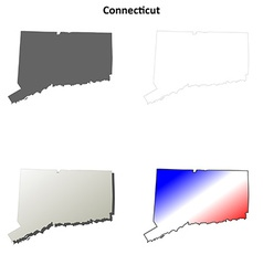 Connecticut outline map set vector image vector image