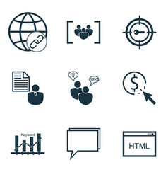 Set of 9 advertising icons includes search vector