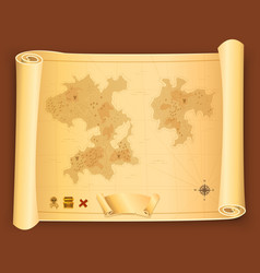 treasure map on parchment scroll vector image vector image