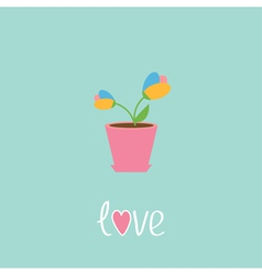 Tulip in pot Love card vector image vector image