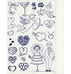Wedding set vector image vector image