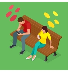 Young man and woman sitting on the bench and send vector image vector image