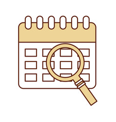 calendar reminder with magnifying glass vector image