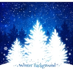 Christmas trees blue and white background vector image vector image