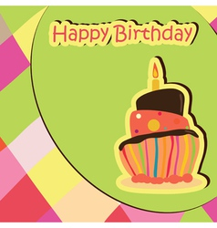 colorful birthday card with cake vector image vector image