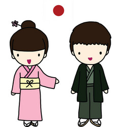 Japanese Traditional Dress vector image vector image