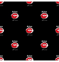 Lips with kiss and love seamless pattern on black vector image