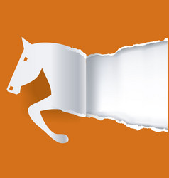 paper horse ripping paper background vector image vector image