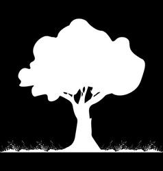 White tree on black background vector image