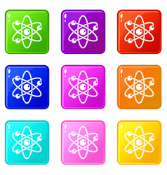atom with electrons icons 9 set vector image