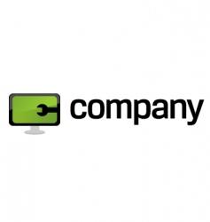 computer repair service logo vector image vector image
