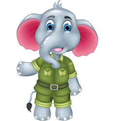 cute elephant cartoon posing with smile and waving vector image vector image