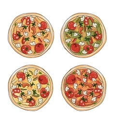Pizza with tomato and mushrooms sketch for your vector image