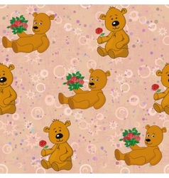 Seamless pattern teddy bears and gifts flowers vector image vector image