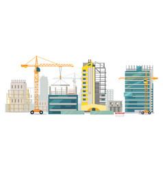 unfinished buildings cranes city construction vector image