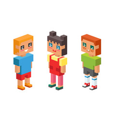 3d isometric kids children concept icons friends vector image