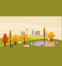 a countryside rural landscape lake utumn with vector image