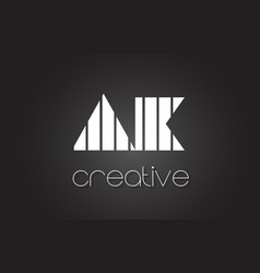 Ak a k letter logo design with white and black vector