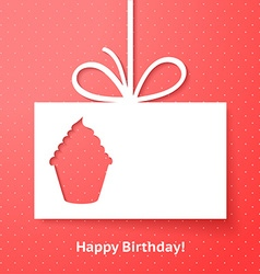 Applique card or background with cupcake vector image