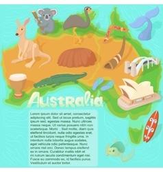 Australia map concept cartoon style vector
