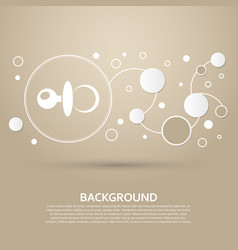 Baby pacifier icon on a brown background with vector