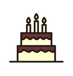birthday cake icon isolated on white background vector image