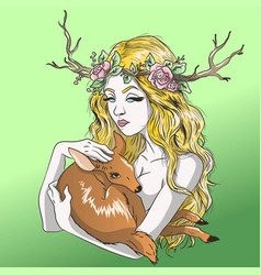 blonde girl holding a deer in her arms vector image