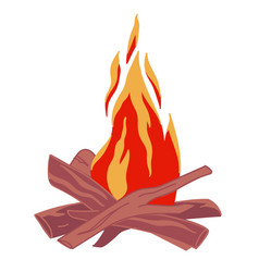 bonfire with logs warming up place fireplace vector image