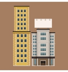Building city with large blank urban billboard vector