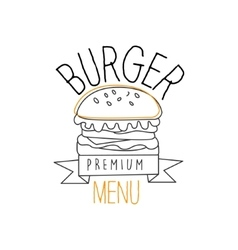 Burger with sesame seeds bun premium quality fast vector