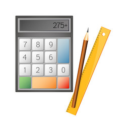Calculator and pencil vector