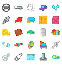 Car mending icons set cartoon style vector