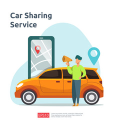 Car sharing concept online taxi or rent vector