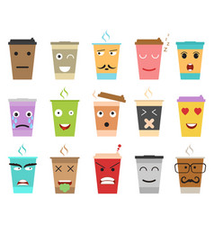 cartoon color cup coffee or tea characters set vector image