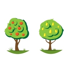 Cartoon pear and apple tree vector