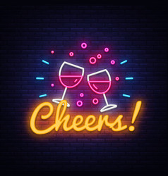 Cheers neon sign wine party celebration vector