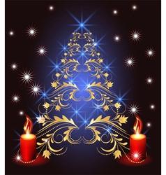 christmas golden furtree vector image