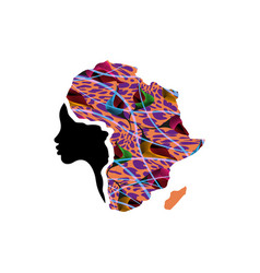 Concept of african woman face profile silhouette vector