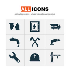construction icons set with electrical board vector image