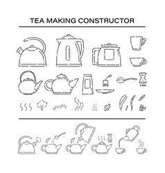 Cooking brew tea procedure constructor set icons vector